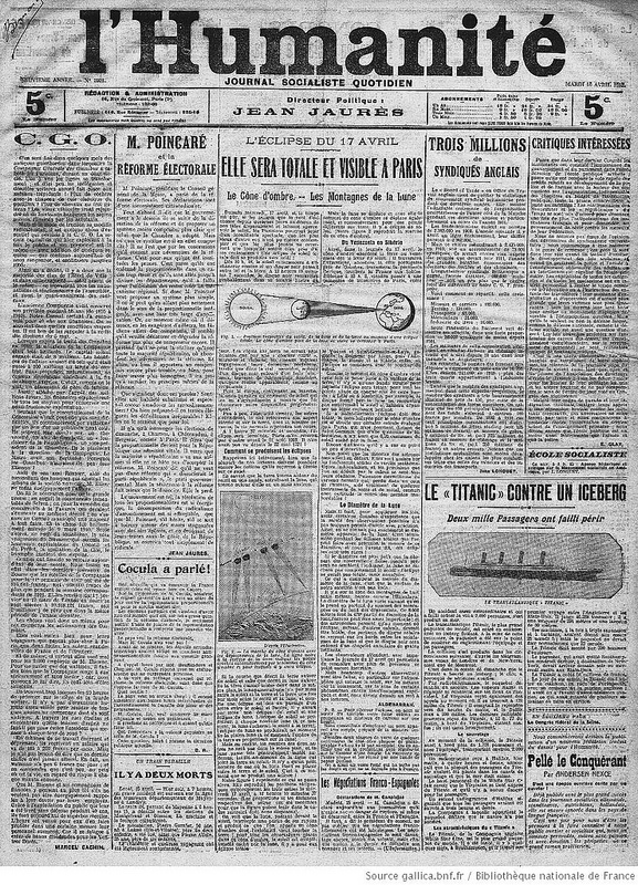 This article from the French newspaper l'Humanité placed the solar eclipse above the Titanic story. Image courtesy of the National Library of France.