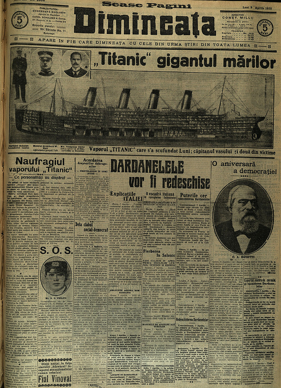 The date of this newspaper has been set according to the Julian calendar, so to compare with other Titanic coverage we must convert the date to the Gregorian calendar. Image courtesy of the National Library of Romania.
