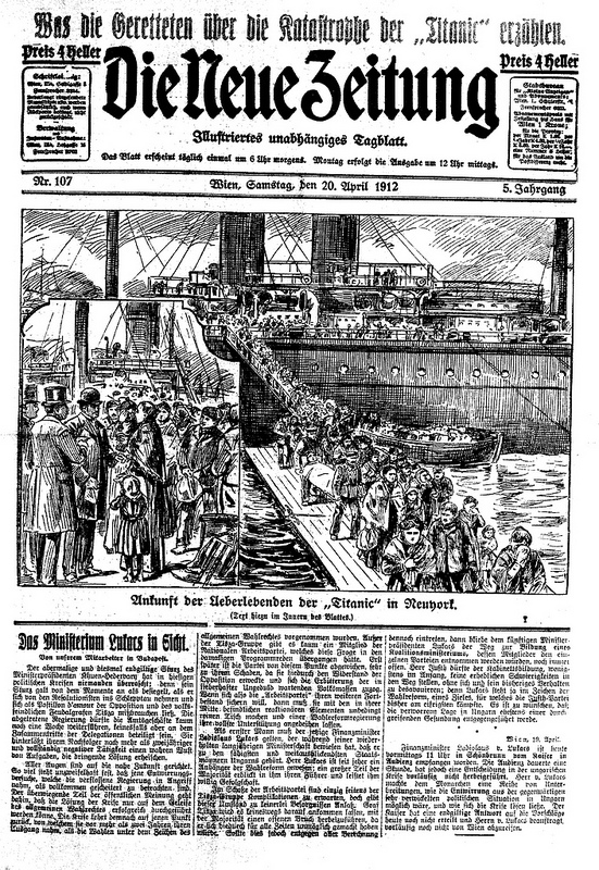 Graphic coverage of the Titanic disaster from an illustrated daily newspaper, based in Vienna, Austria. Image courtesy of the Austrian National Library.