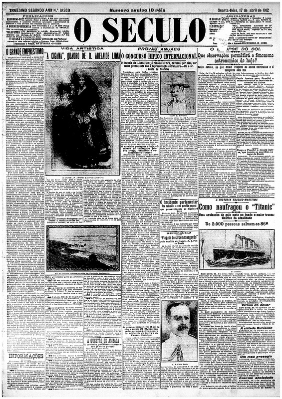 This is how Portugal's O Século newspaper reported the Titanic disaster on April 17th, 1912. Image courtesy of the National Library of Portugal.