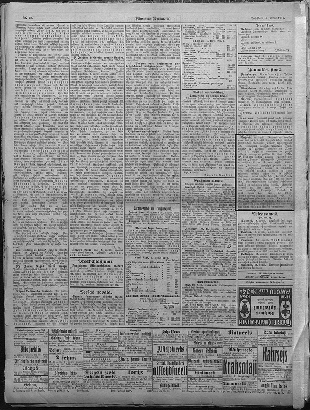 The story of the Titanic's sinking was largely featured on the inner pages of Latvia's newspapers. The small story in this example can be seen outlined on the right side of the page. Image courtesy of the National Library of Latvia.