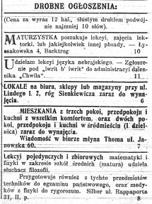adverts Chwila newspaper - National Library of Poland