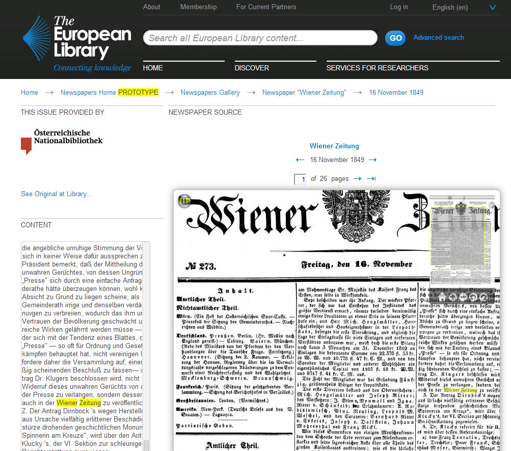 The European Library historic newspaper browser