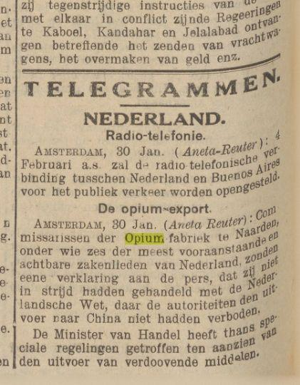 An illustration of the Dutch duplicitous attitude towards drugs as reflected in the Nieuws van den Dag voor Nederlandsch-Indië [News of the Day for the Dutch East Indies], 31 January 1929. 'Commissioners of the Opium Factory in Naarden, among whom six of the most esteemed and honourable businessmen in the Netherlands, have sent a declaration to the press stating that they have not violated any Dutch laws, because the authorities have not forbidden opium exports to China.'