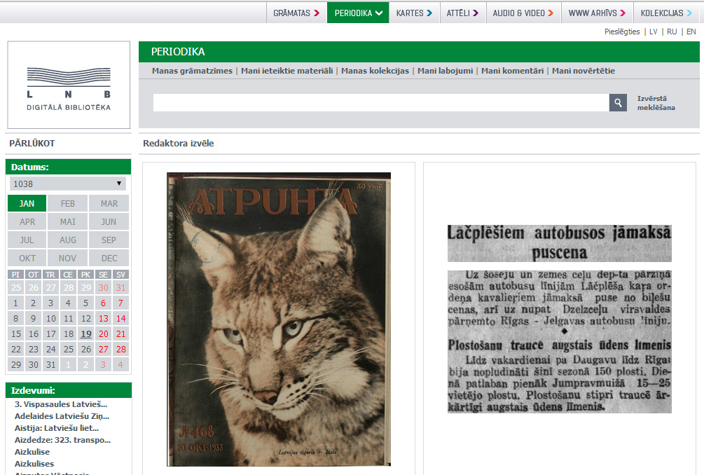 Periodika, the digital newspapers portal of the National Library of Latvia.