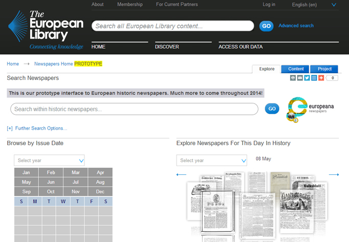 The historic newspapers browser, which has been built to showcase content from the Europeana Newspapers project.