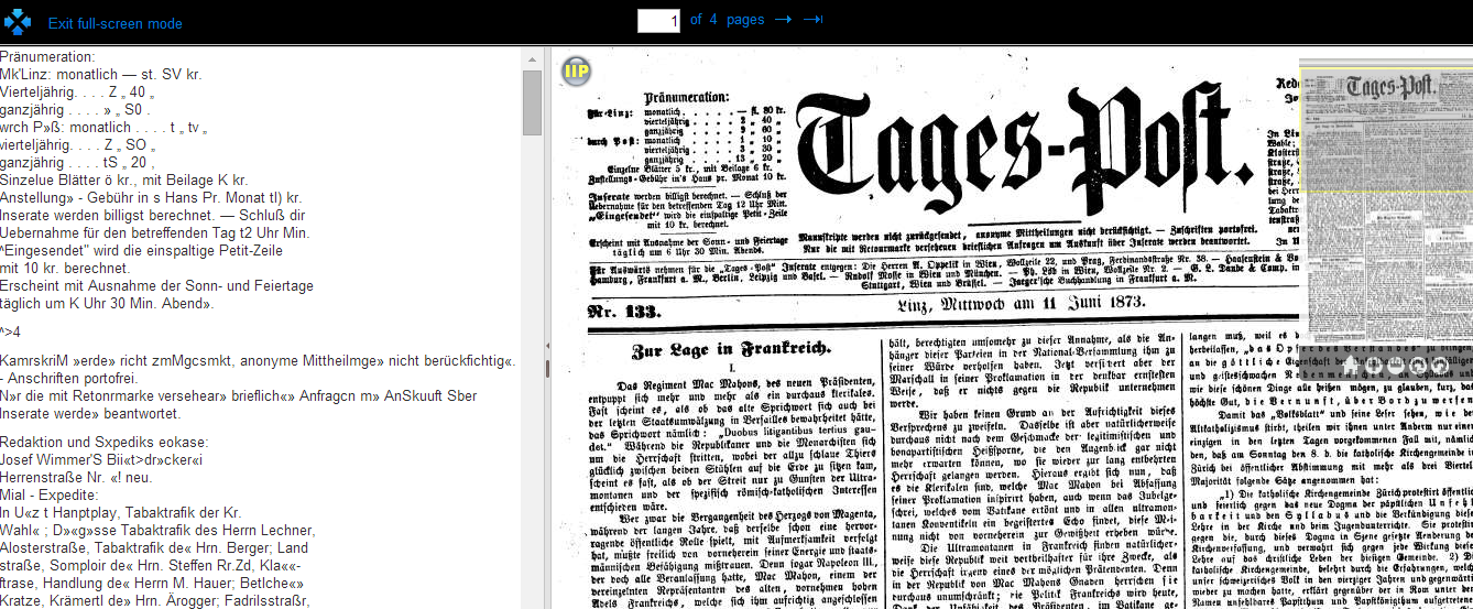 Europeana Newspapers Browser full screen mode