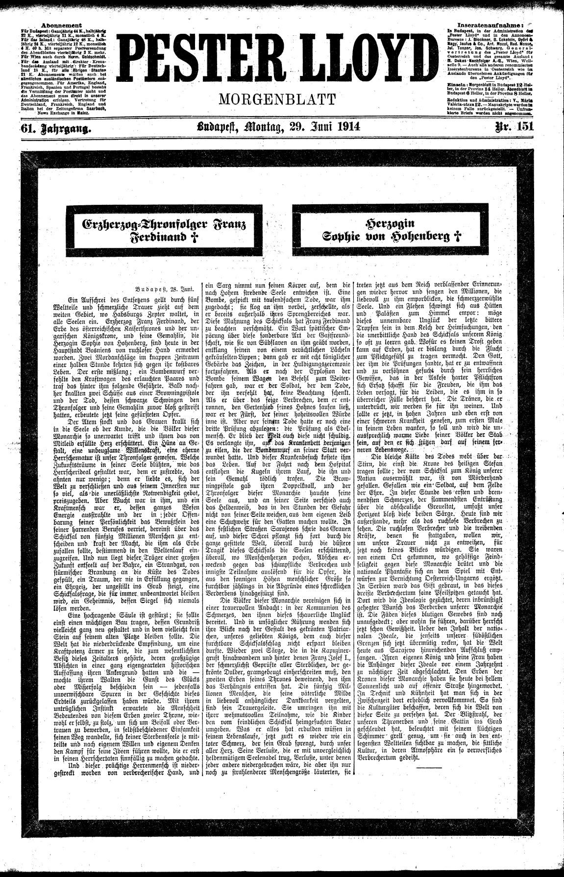 The Pester Lloyd reporting on the death of Archduke Franz Ferdinand and Archduchess Sophie in Sarajevo. ANNO/Österreichische Nationalbibliothek