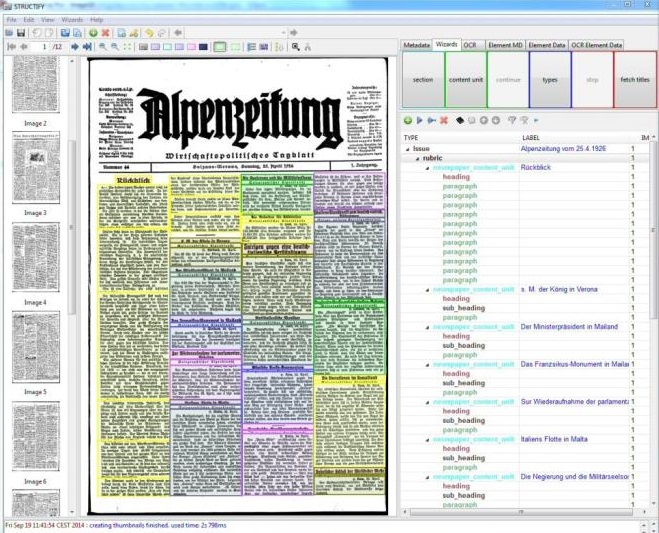 structify a tool for structural annotation of digital newspapers