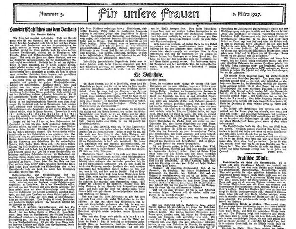 """Hamburger Anzeiger, 3.3.1927, Nr. 5, p. 1 """"Für unsere Frauen"""" (For our women)"""
