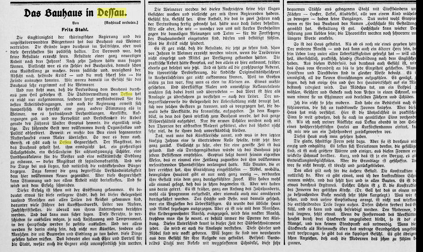 """Berliner Tageblatt, 7.12.1926, Morgenausgabe, S. 2, """"Das Bauhaus in Dessau"""""""