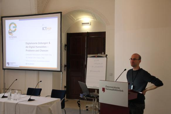 Clemens Neudecker's talk was centred on digitised newspapers in Digital Humanities.