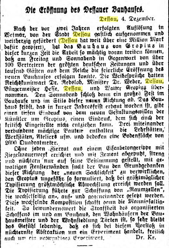 """Hamburger Anzeiger, 7 Dezember 1926, p. 3, """"Die Eröffnung des Dessauer Bauhauses"""" (The opening of the Bauhaus in Dessau)"""
