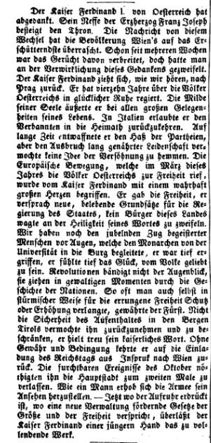 Detail of Die Presse, 05. December 1848, p. 2. ANNO/Austrian National Library