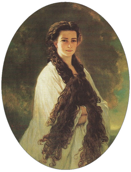 Portrait of Elisabeth depicting her long hair (by Franz Xaver Winterhalter, 1864), although its existence was kept a secret from the general public, it was the emperor's favourite portrait of her